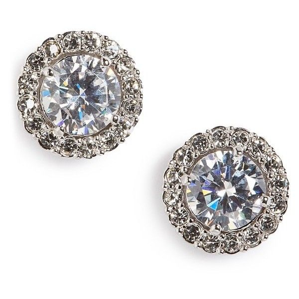 Nadri Round Cubic Zirconia Stud Earrings ($38) ❤ liked on Polyvore featuring jewelry, earrings, handcrafted earrings, pave jewelry, cz stud earrings, nadri jewelry and handcrafted jewellery
