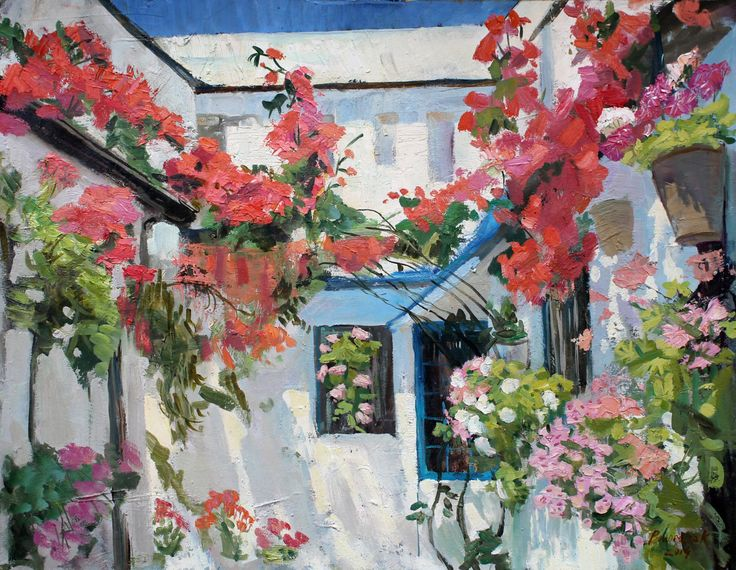 Garden in flovers. Oil painting garden Original palette knife painting Bright flower art Landscape yard flowers Patio flowers painting Mediterranean style art.    This picture painted by me. 100% hand made. It can serve as a wonderful decoration of your home or to be a very good gift . It can be inserted anywhere in the frame that will give it a finished look.  size 20*23,6 inch (50*60 cm)