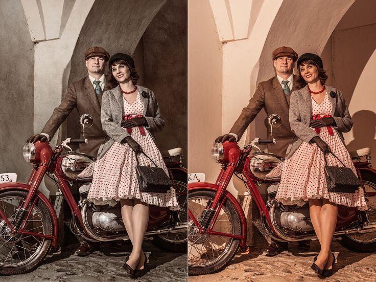 Jak vytvořit dvoumetrový obraz v retro romantickém stylu?  Klienti chtěli nafotit nádhernou motorku a zasadit ji i sebe do prostředí a času tak, aby vše odpovídalo období, kdy tento stroj brázdil silnice. Vše by šlo naprosto hladce, kdyby v Olomouci, kde jsme chtěli fotit ve starých uličkách nepršelo a nepřestal mi fungovat odpalovač.Photoshop zachránil celou akci. Podívejte se na video, jak vypadala realizace ve Photoshopu. Co na to říkáte? https://youtu.be/XW3JElutXjM