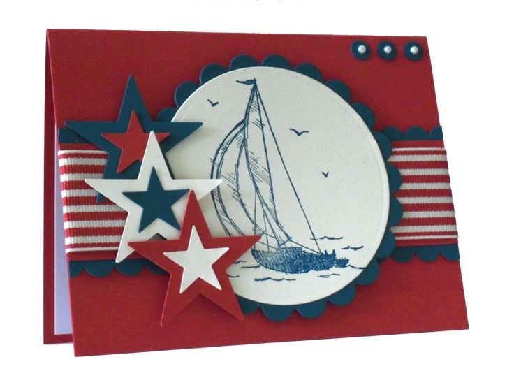 Nautical card with #patriotic colors. For My handmade greeting cards visit me at My Personal blog: http://stampingwithbibiana.blogspot.com/