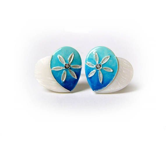 Mother-Daughter Heart Turquoise Hand-Painted Pearl Ring