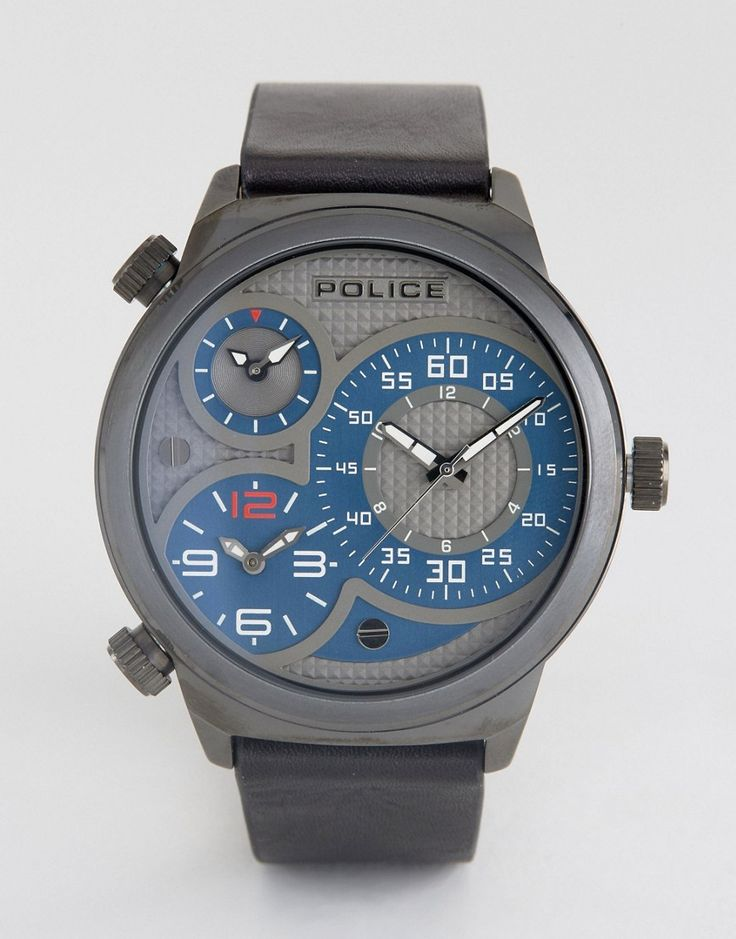 Get this POLICE's watch now! Click for more details. Worldwide shipping. Police Elapid Mens Black Leather Strap Watch With Grey And Blue Mutli Functional Dial - Black: Watch by Police, Real leather strap, Stainless steel case, Sub-dial chronograph design, Pin-buckle fastening, 5ATM: water resistant to 50 metres (160 feet), Presented in a branded box. (reloj, watches, mini clock, chronograph, chronometer, pulsometer, clock, watch, leather strap, reloj, minirreloj, cronógrafo, cronografos…