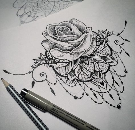 Rose & Mandala tattoo