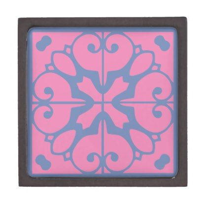 Southwestern Turquoise and Pink Tile Design Jewelry Box - home decor design art diy cyo custom