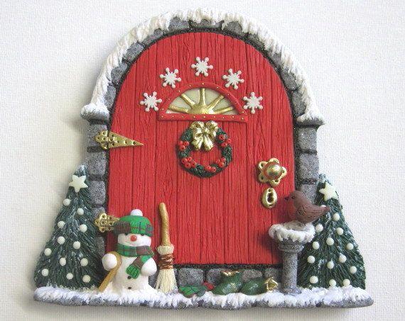 Christmas Fairy Door with Cheerful Snowman by PatsParaphernalia, £25.00