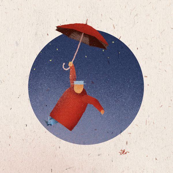 My floating illo for #castellodiformigine #illo #illustration #delumen #umbrella #itsrainingmen #castelloerrante #videomapping #animation