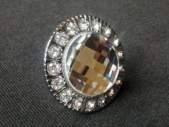 Glass Dresser Knobs / Crystal Drawer Knobs Pulls Handles Sparkle Clear Diamond / Silver Cabinet Knobs Handle Pull Furniture Knob Hardware