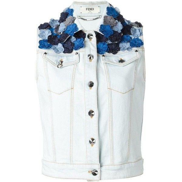 Fendi flower appliqué sleeveless denim jacket ($1,710) ❤ liked on Polyvore featuring outerwear, jackets, tops, blue, blue denim jacket, pattern jacket, button jacket, jean jacket and flower jacket