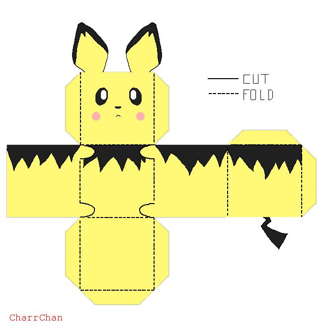Pichu Paper Craft by CharrChan.deviantart.com on @DeviantArt