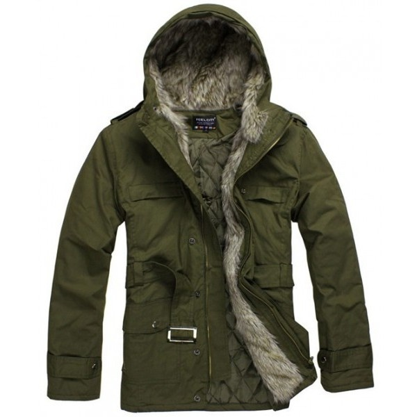 Men Spring New Style Warm Hood Long Sleeve Army Green Cotton Coat... ($57) via Polyvore