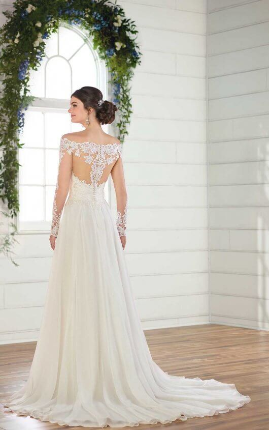 d8047bc3f53d D2569 Simple Wedding Dress with Off-the-Shoulder Neckline by Essense of  Australia