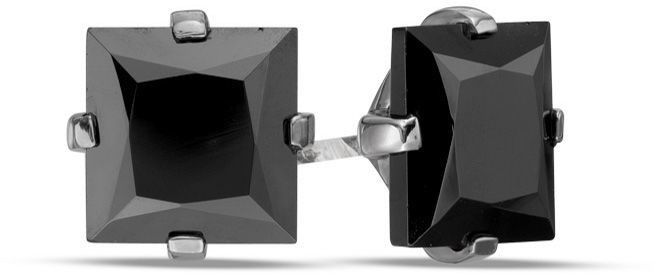 Zales Men's Shaquille O'Neal 7.0mm Square Black Spinel Solitaire Stud Earrings in Sterling Silver with Black Rhodium