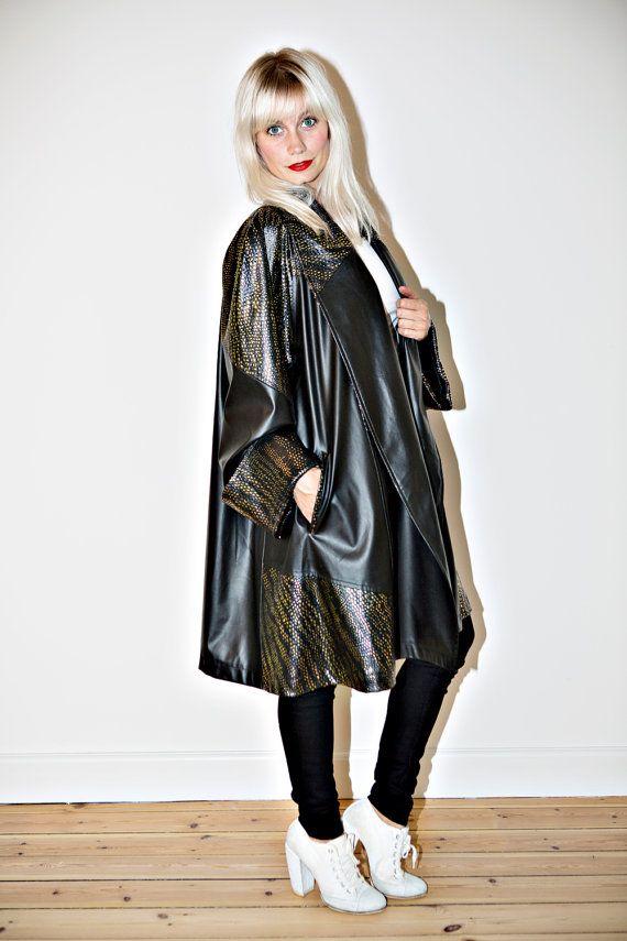 Shiny black & gold A-line swing coat by CirkusVintageCph on Etsy