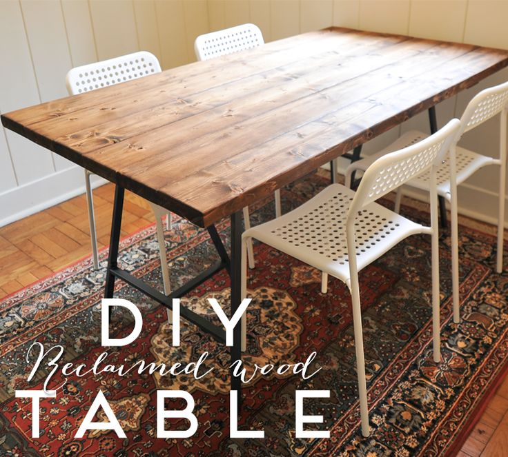 A New Bloom: DIY Reclaimed Wood Dining Table   Ikea Hack