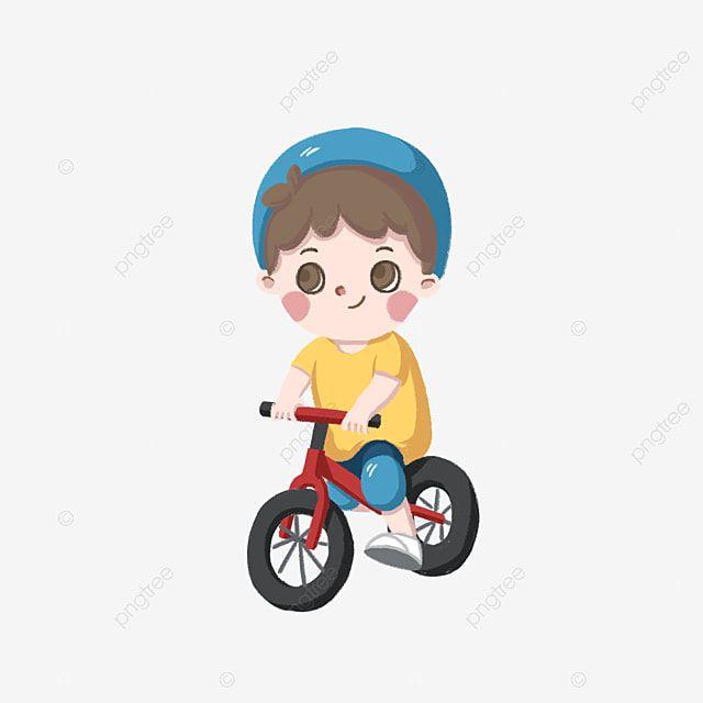 طفل يركب دراجة التوازن للأطفال الدراجة المرسومة سيارة التوازن للأطفال كرتون Png وملف Psd للتحميل مجانا Balance Bike Character Bike