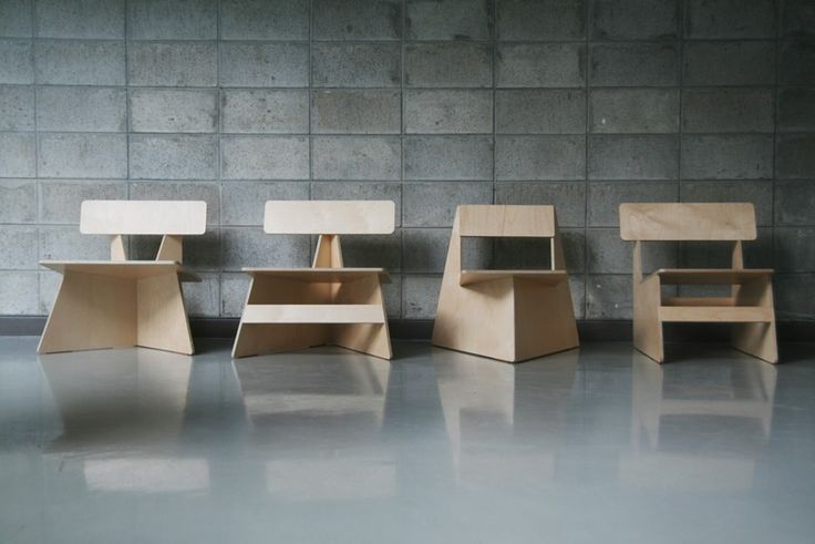 Four Brothers, Minimalist Plywood Chairs by Seungji Mun | GBlog.
