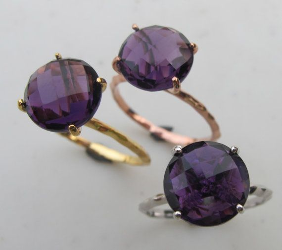 Amethyst Ring Silver Ring Gemstone Ring Stone Rings by Belesas