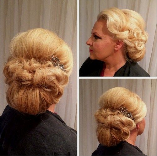 formal low chignon with a bouffant