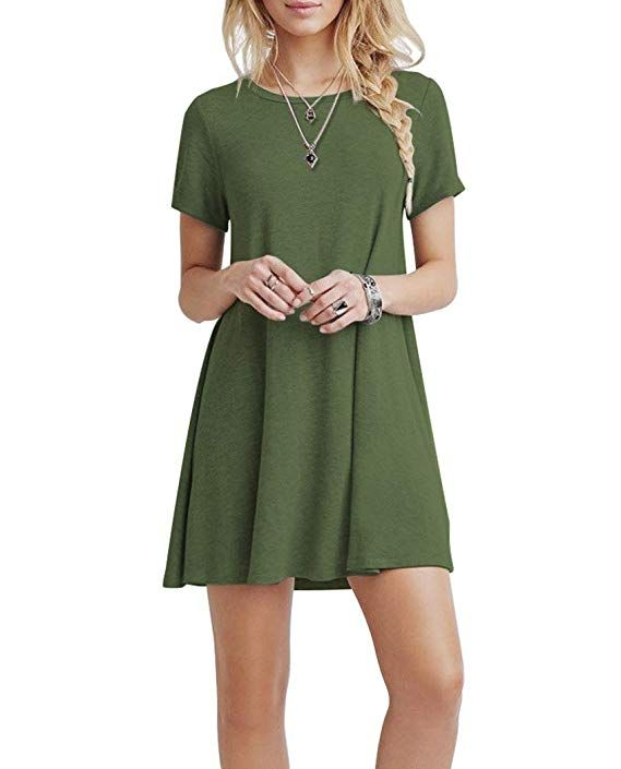 5c4cffb7a01b KORSIS Women's Summer Casual T Shirt Dresses Short Sleeve Swing Dress with  Pockets ArmyGreen S at