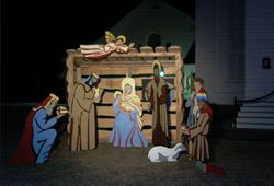 Outdoor Nativity Scenes: A Nativity scene.