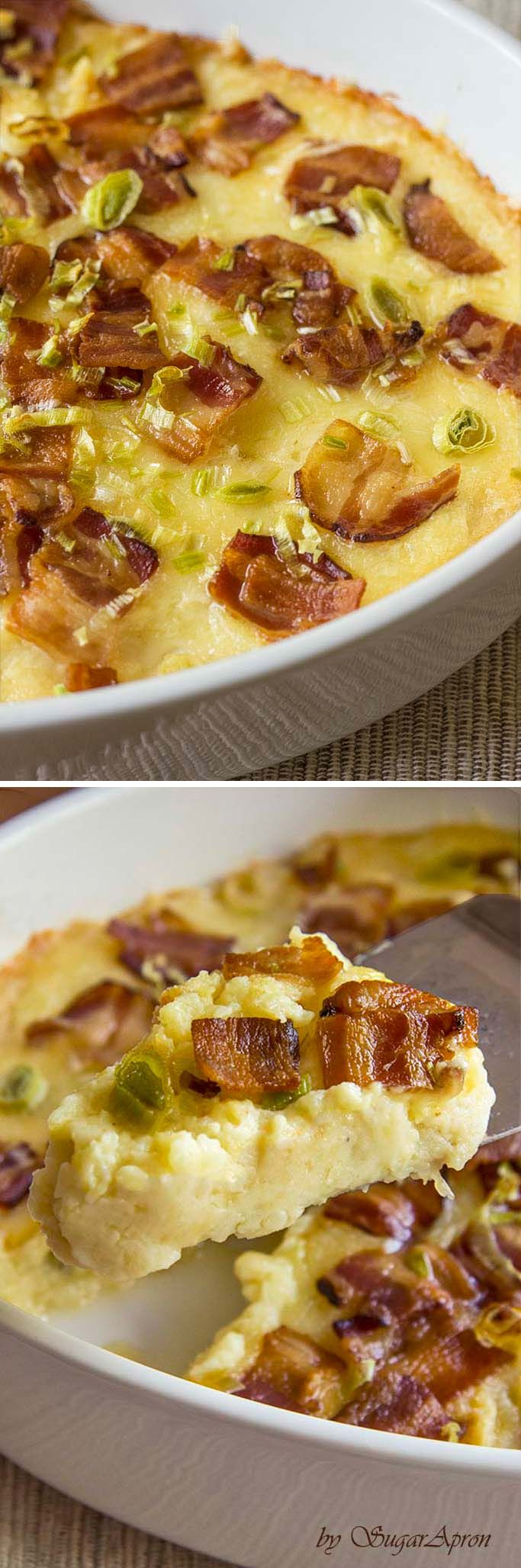 Twice Baked Potatoes Casserole with Cream Cheese, Bacon, and Garlic.  Breakfast, dinner, or lunch!