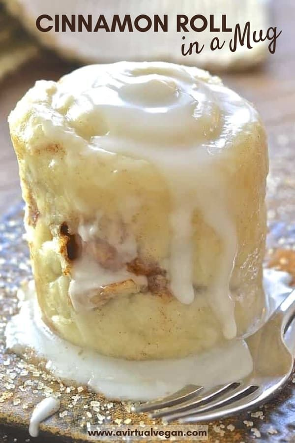 This single serving, oil-free Cinnamon Roll in a Mug is likemagic. It's so easy & perfect for when those sweet cravings hit & you NEED dessert, like now! #mugcake #cinnamonroll #vegan #cinnamon #dessert #microwave #oilfree   via @avirtualvegan