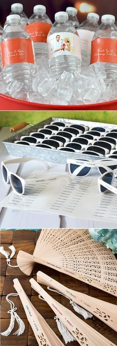 Add fun and personal style to your outdoor summer wedding with favors and decorations to keep guests cool and comfortable during your ceremony and reception. Quench guests' thirst with ice cold bottles of water personalized with custom printed, waterproof labels. Keep guests cool with folding hand fan favors. Use personalized sunglasses favors to keep the glare off of your backyard or beach wedding. Summer favors can be ordered at…