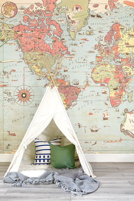 Bring a whimsical feel to your child's room. This charming map mural is brimming with beautiful details such as illustrative sea monsters and ships! This map will bring joy to any home, looking wonderful in nursery and playroom spaces.