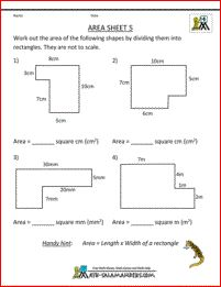 free 4th grade math worksheets area 5