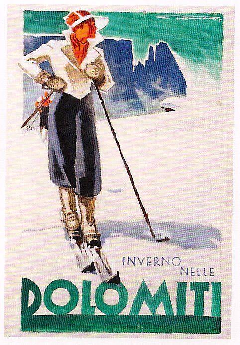 vintage ski poster - Dolomiti #Dolomites #Dolomiten #Dolomitas #Dolomiti #DolomitiUNESCO