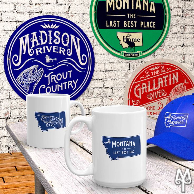 'Montana | The Last Best Dad' coffee mugs by Montana Treasures make great Father's Day gifts. This Father's Day give your Dad a gift that says you understand how much fly fishing means to him. Montana Treasures wall signs and ball caps are great gifts; but, if he's actually from Montana, then you might want to get him a 'The Last Best Dad' coffee mug too. Shop on! :)