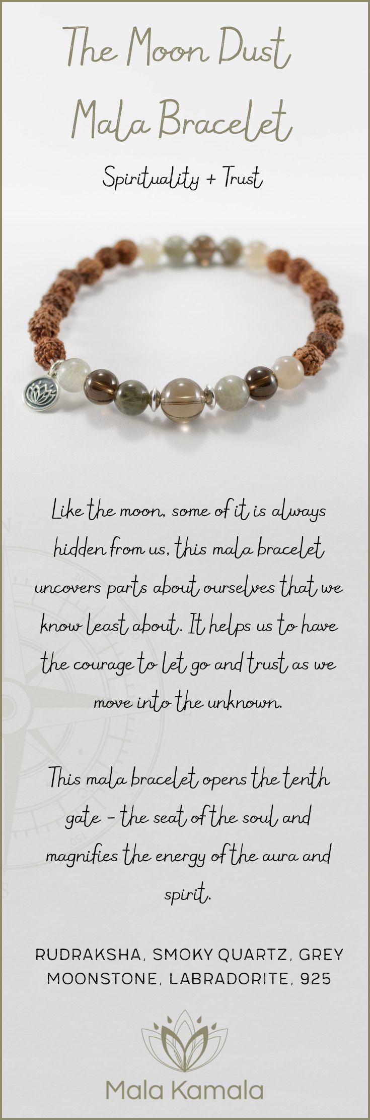 Pin To Save, Tap To Shop! The Moon Dust Mala Bracelet for spirituality and trust. With rudraksha, smoky quartz, grey moonstone, labradorite and 925 sterling silver. Mala Kamala Mala Beads - Malas, Mala Beads, Mala Bracelets, Tiny Intentions, Baby Necklace