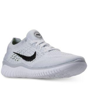 Nike Women S Free Run Flyknit 2018 Running Sneakers From Finish Line White 9 5