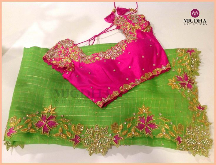 Weekend Special Saree and Blouse with stunning color and hand made design from the house of Mugdha Art Studio.To order:Whatsapp on 8142029190/9010906544. 09 December 2017