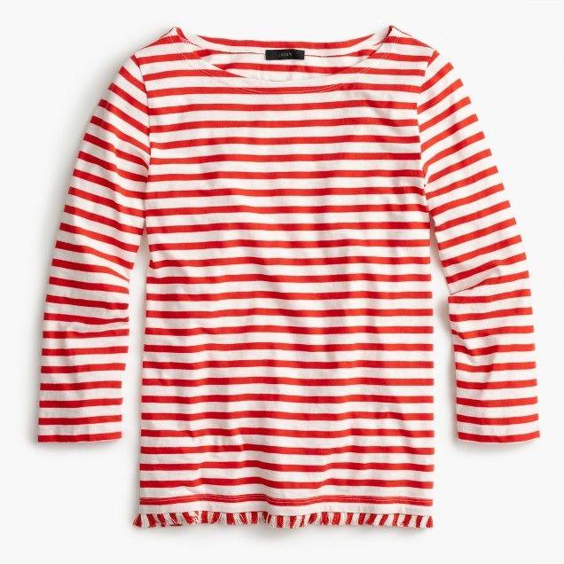 Striped Boatneck T-Shirt With Fringe | J.Crew