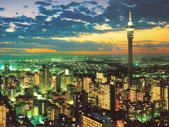 The lights of Johannesburg brighten up this South African sunset so beautifully!