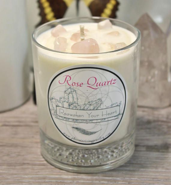 Rose Quartz Candle Crystal Candle Blessing Ritual love