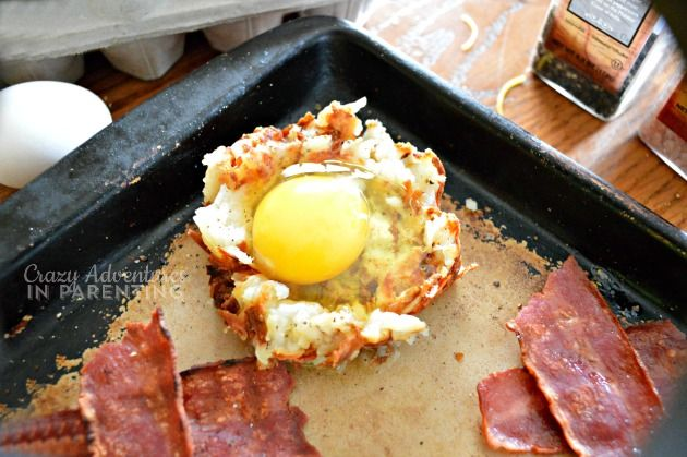 drop egg in the Bacon Egg and Hash Brown Nests