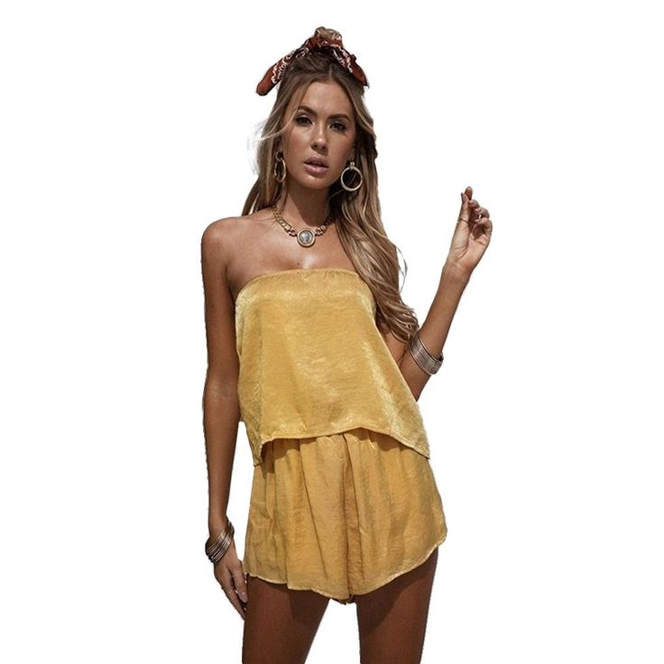 Charlee Cooper Yellow Strapless Slash Neck Backless Playsuit