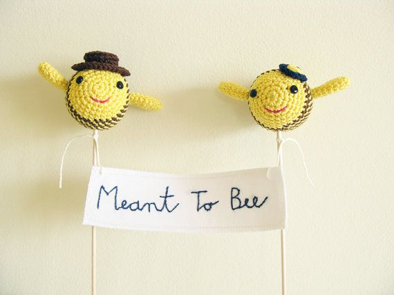 Cake Banner Meant To Bee Yellow Wedding Cake Topper by cherrytime