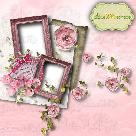 Lucy Digital Scrapbook Flower QUICKPAGE Layout by PickleStarScraps