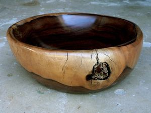 Beautiful smooth bowl with rustic knot! #leadwood #bowl #woodenbowl