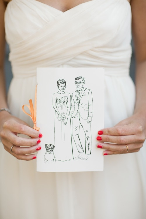 katie armour's illustrated wedding program photographed by Cooper Carras