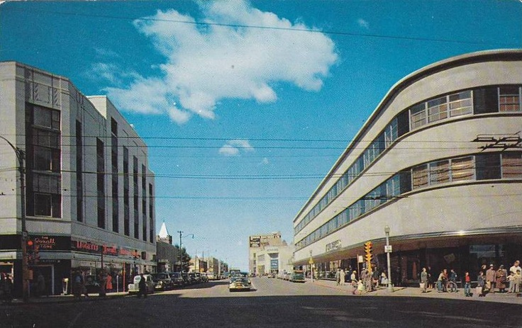 King Edward Hotel with Rexall drugs on the left corner. The stunning deco Timothy Eaton's store. Nickel metal flashing, black granite facing, 1st St. and 2nd Avenue. Image Courtesy of Vintage Edmonton https://www.facebook.com/TheVintageEdmonton?fref=ts