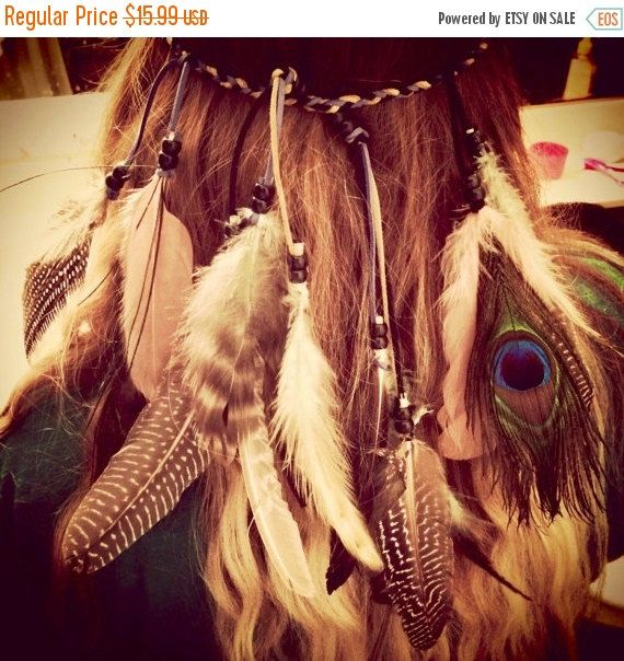 Coachella, Festival Tribal Headband Native American, Feather Headband, Hippie Headband, Boho Headband, Bohemian Headband, Feather Hair.