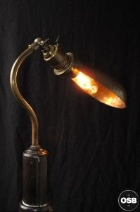 Lampe Tractor creation unique cric ancien esprit industriel art 3  / strange Steampunk Industrial Tractor lamp made from vintage stuff