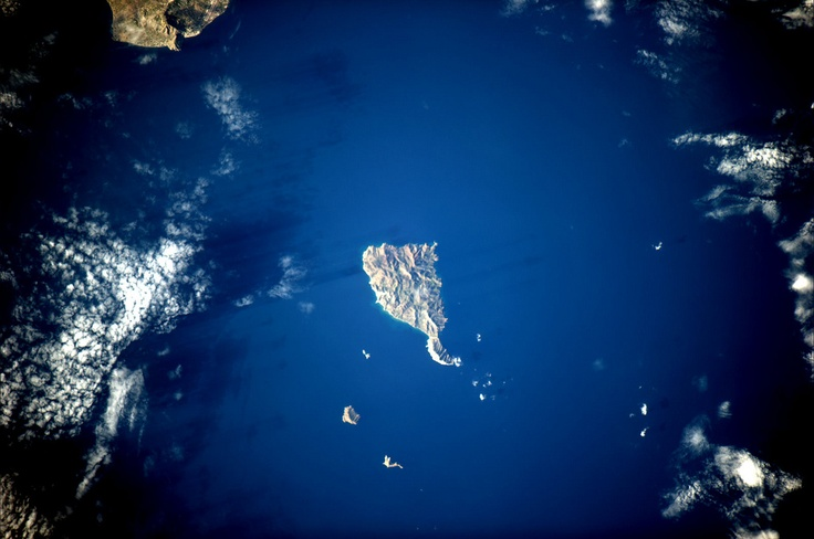Greek islands of the Aegean Sea from space. They look even better from close up. (And btw, the answer to the question is, Anafi.)