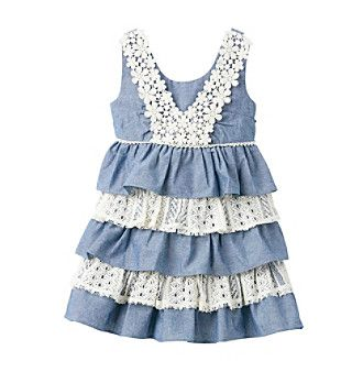 Product: Bonnie Jean® Girls' 2T-4T Blue Sleeveless Tiered Chambray and Lace Dress