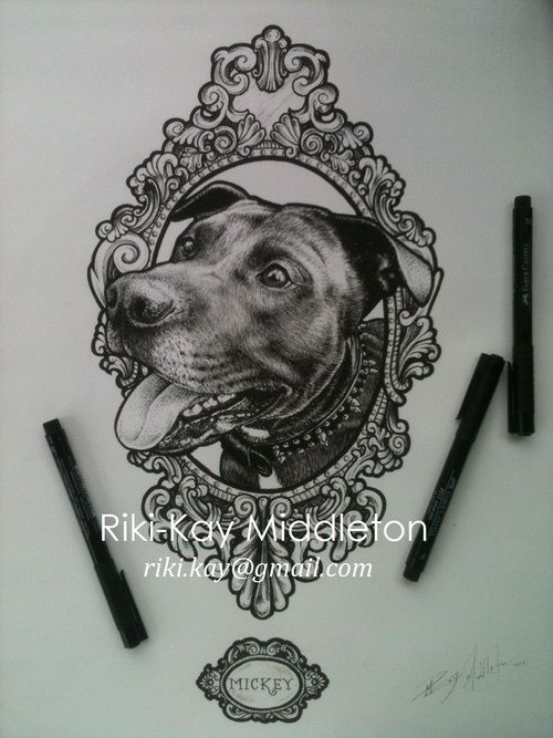 Portrait of Mickey (RIP) for Keith and Sara Winterbottom, of Citrus City Tattoo.  18 by 14, cold press arches paper.