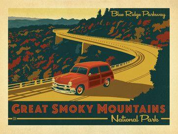 Art & Soul of America: Great Smoky Mountains - Blue Ridge Parkway Gallery Print - midcentury - Fine Art Prints - Anderson Design Group